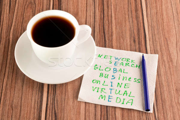 Bulmaca peçete web sitesi fincan kahve ahşap Stok fotoğraf © a2bb5s