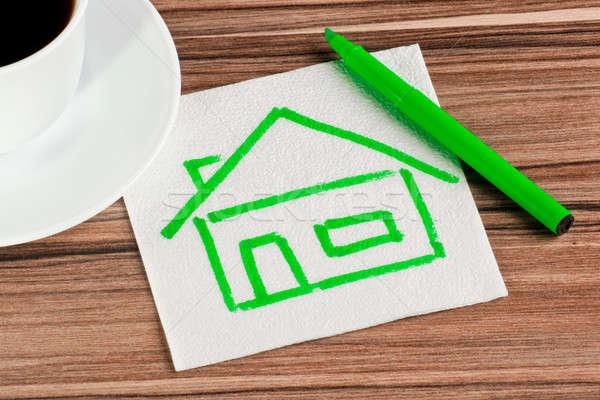 ストックフォト: 家 · ナプキン · カップ · コーヒー · 紙 · 建物