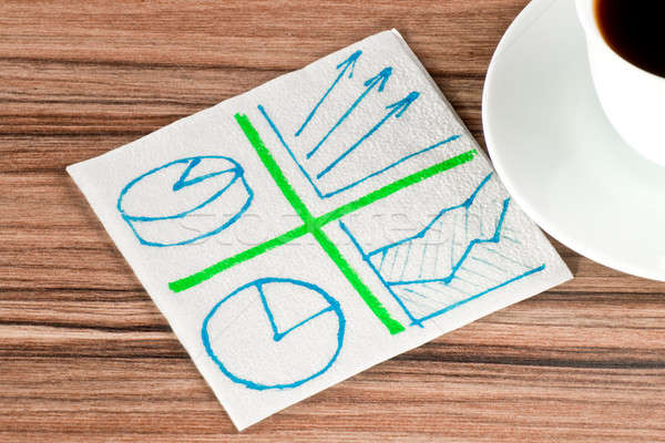 Plusieurs diagrammes serviette tasse café bois Photo stock © a2bb5s