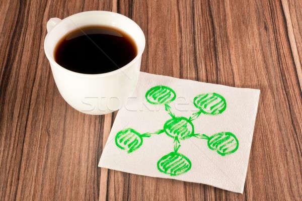 Diyagram peçete fincan kahve kâğıt ahşap Stok fotoğraf © a2bb5s