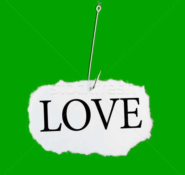 Foto stock: Palavra · amor · pescaria · gancho · verde · papel
