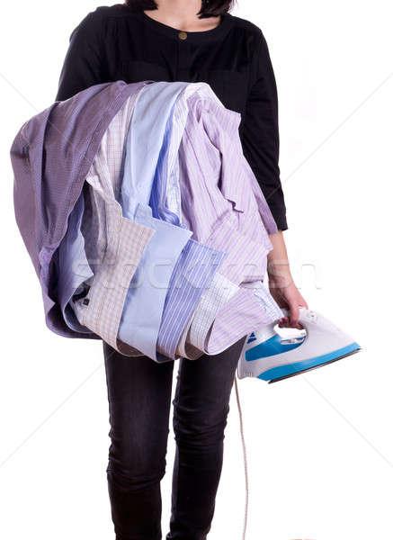 Mulher camisas ferro isolado moda Foto stock © a2bb5s