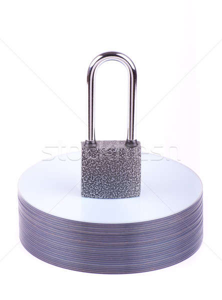 Padlock on the stack of CD Stock photo © a2bb5s