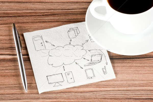 Computing cloud on a napkin Stock photo © a2bb5s
