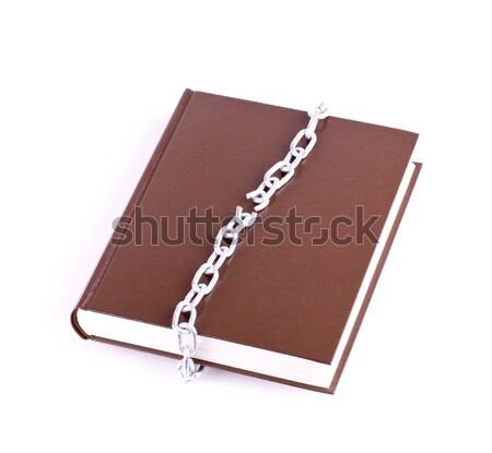 Marrom livro rasgado cadeia isolado segurança Foto stock © a2bb5s