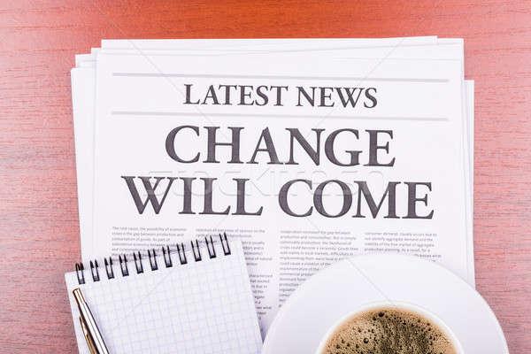 Gazete değiştirmek kahve haber başlık Stok fotoğraf © a2bb5s