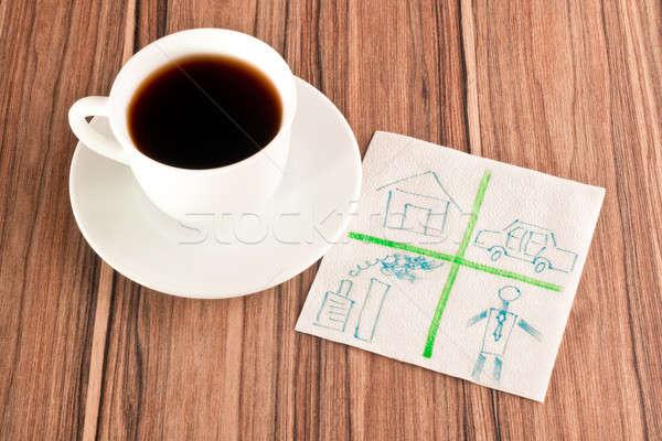 Stock photo: House, car, plant and human on a napkin