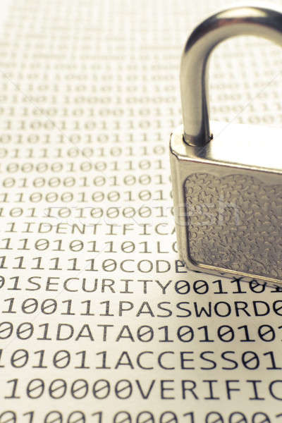 Padlock is on the list with a binary code Stock photo © a2bb5s