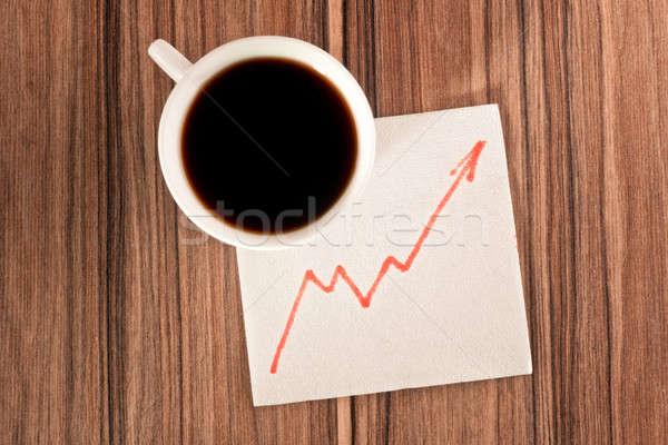 Photo stock: Croissance · graphique · serviette · tasse · café · stylo