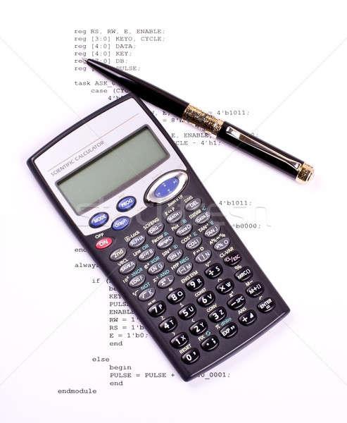 Program pióro Kalkulator komputera naukowy biuro Zdjęcia stock © a2bb5s