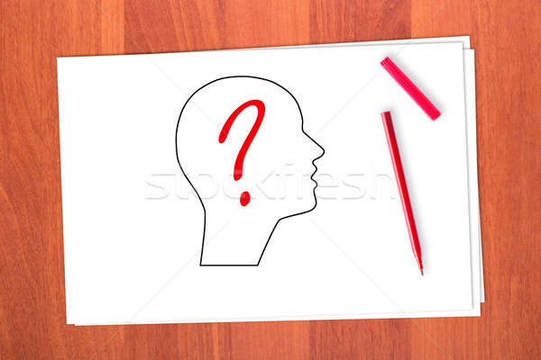 Drawing head and question mark Stock photo © a2bb5s