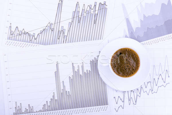 Cup of coffee and graphs Stock photo © a2bb5s
