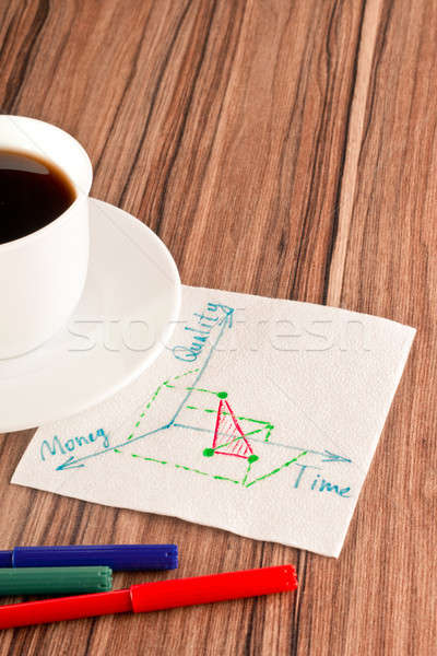 Stock photo: 3-dimensional graph on a napkin
