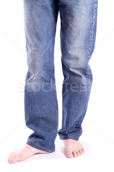 Pies descalzo jeans aislado hombre moda Foto stock © a2bb5s