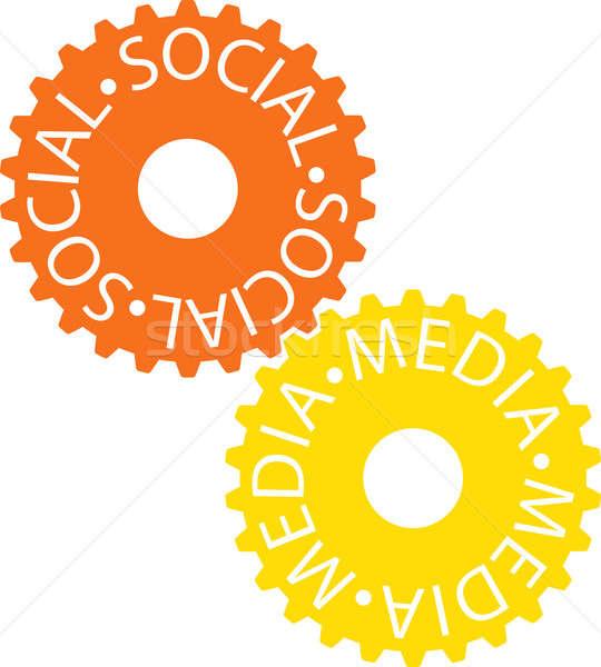 Médias sociaux coloré engins roue industrie Photo stock © a2bb5s
