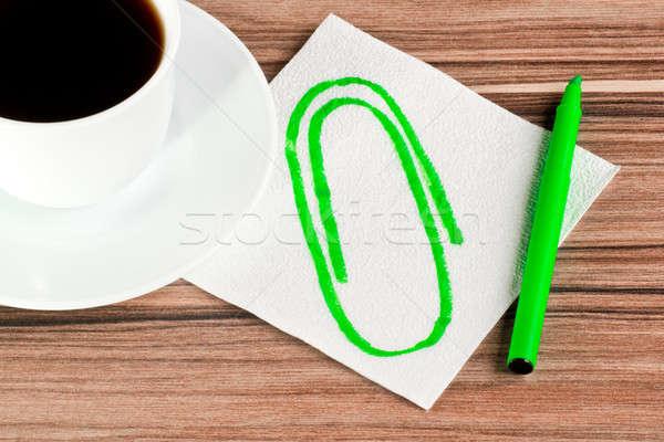 ストックフォト: クリップ · ナプキン · カップ · コーヒー · 木材 · ドリンク