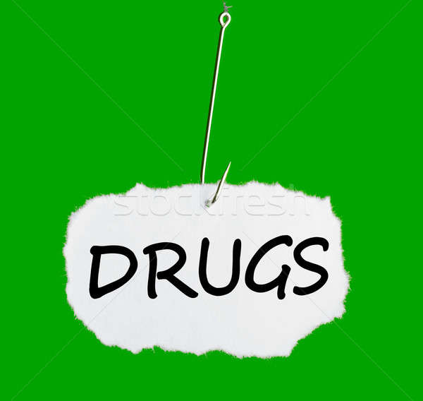 Word DRUGS on a fishing hook Stock photo © a2bb5s