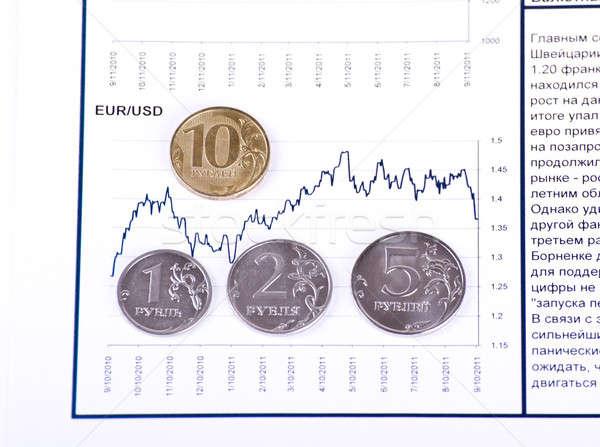 Foto stock: Moedas · diagrama · 10 · negócio · dinheiro · papel