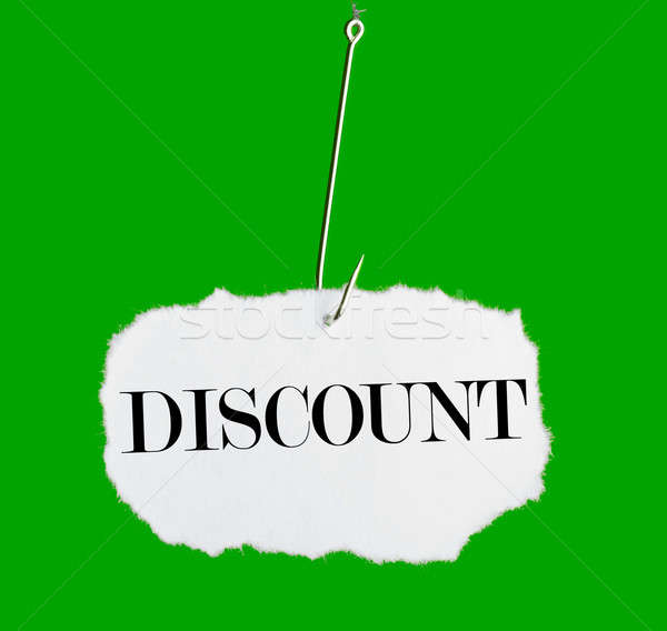 Word DISCOUNT on a fishing hook Stock photo © a2bb5s
