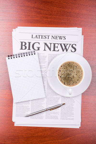 The newspaper  BIG NEWS  and coffee Stock photo © a2bb5s