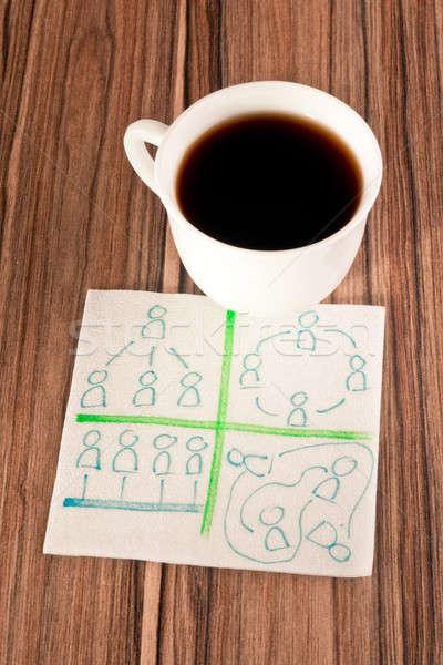 Ilişkileri insanlar peçete fincan kahve kâğıt Stok fotoğraf © a2bb5s