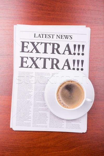 Stok fotoğraf: Gazete · ekstra · kahve · haber · başlık · ofis