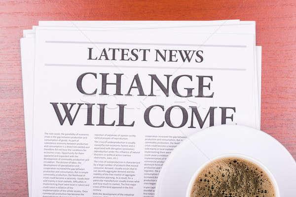 Stok fotoğraf: Gazete · değiştirmek · kahve · haber · başlık