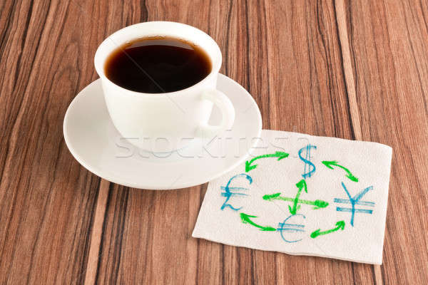 Foto stock: Moeda · guardanapo · copo · café · papel · madeira
