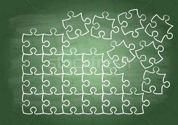 головоломки школы доске зеленый белый шаблон Сток-фото © a2bb5s