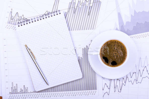 Cup of coffee, notepad  and graphs Stock photo © a2bb5s