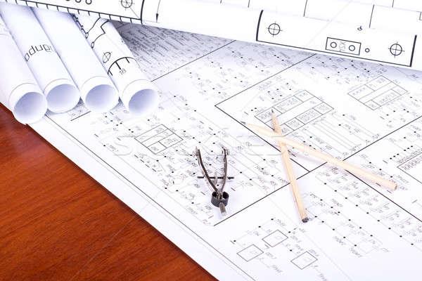 Stock photo: Blueprint, pencil and caliper