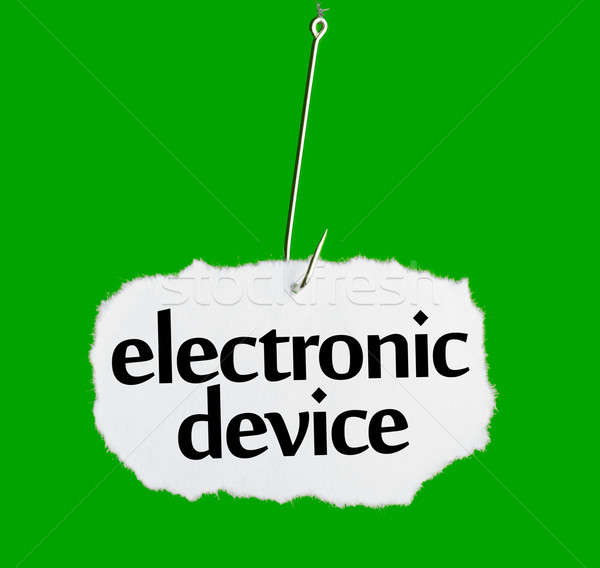 Stock photo: Word ELECTRONIC DEVICE on a fishing hook