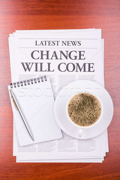 The newspaper  CHANGE WILL COME  and coffee Stock photo © a2bb5s