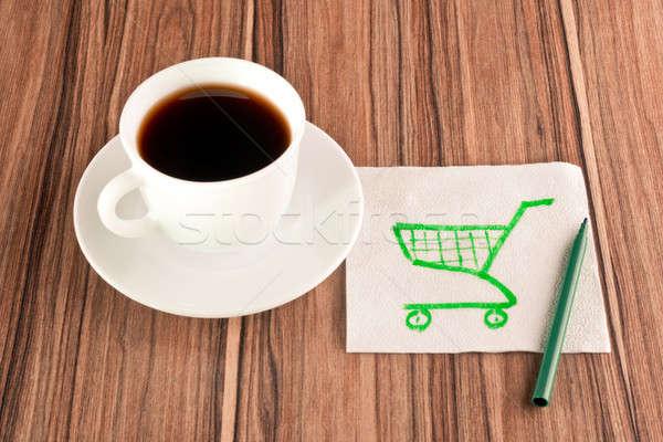 Shopping carts on a napkin Stock photo © a2bb5s