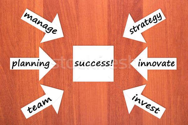 Zes onderdelen succes hout papier team Stockfoto © a2bb5s