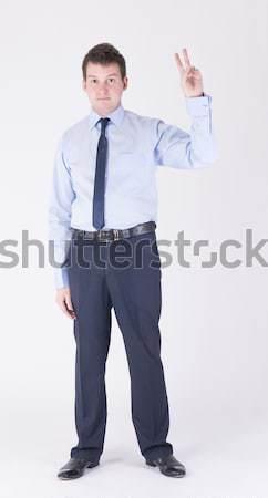 Foto stock: Assinar · homem · negócio · terno · cara