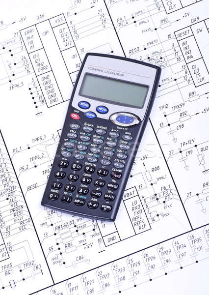 Calculator on the  drawing electrical circuit Stock photo © a2bb5s