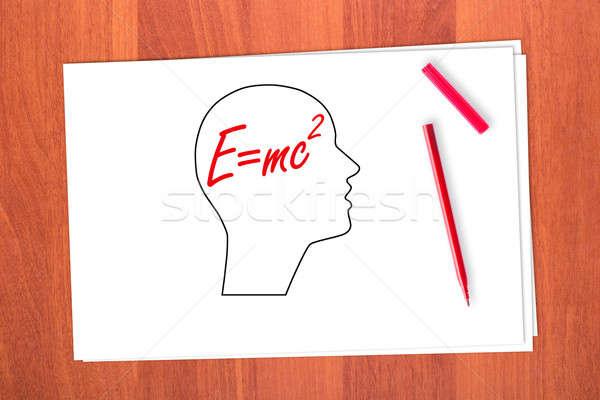 Desenho cabeça madeira vermelho silhueta nota Foto stock © a2bb5s