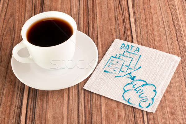 Stock photo: Data in the cloud on a napkin