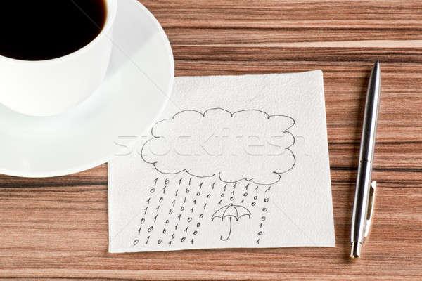 ストックフォト: 雨 · 番号 · ナプキン · カップ · コーヒー · 紙