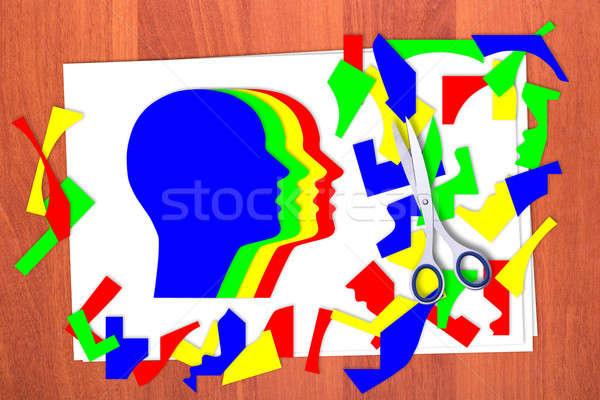 Four multicolored head and scrap Stock photo © a2bb5s