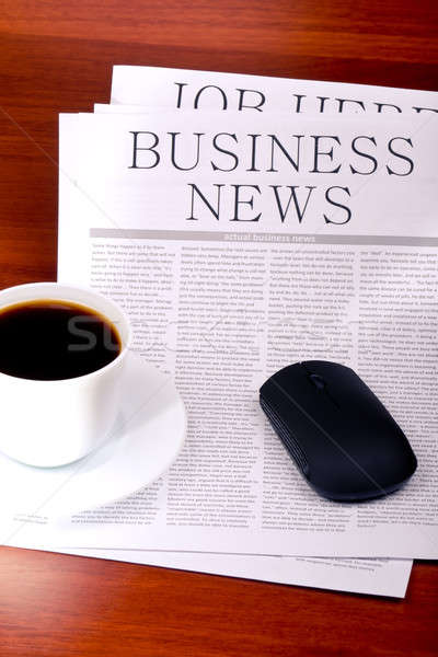 Business newspaper, cup of coffee and mouse Stock photo © a2bb5s