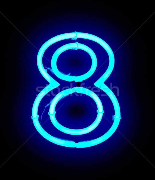 неоновых свет числа изолированный черный дизайна Сток-фото © ABBPhoto