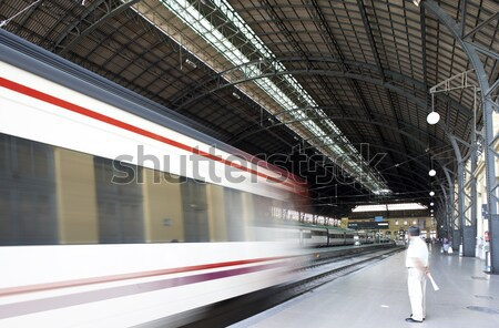 Treinstation trein verkeer horizontaal technologie reizen Stockfoto © ABBPhoto