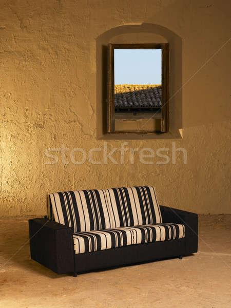 диван большой пусто интерьер открытых окна Сток-фото © ABBPhoto
