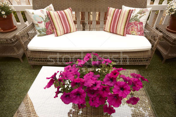 Outdoor Wicker forniture Stock photo © ABBPhoto