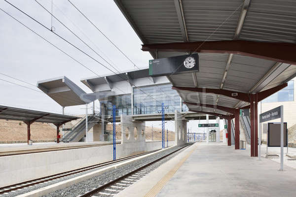 Treinstation moderne architectuur vervoer Spanje bestemming Stockfoto © ABBPhoto