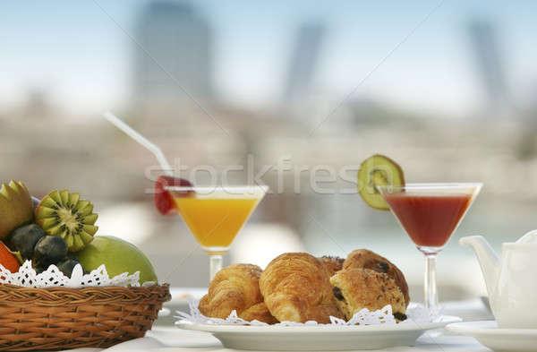 Frutas desayuno terraza enfoque alimentos café Foto stock © ABBPhoto