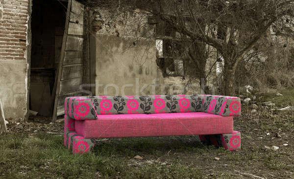 диван заброшенный сельский место новых черно белые Сток-фото © ABBPhoto