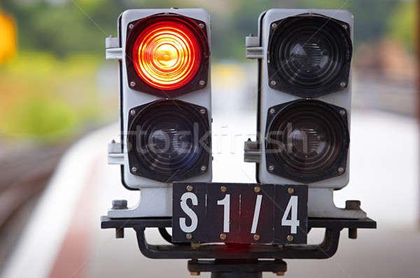 Demiryolu trafik ışıkları dışarı odak trafik elektrik Stok fotoğraf © ABBPhoto